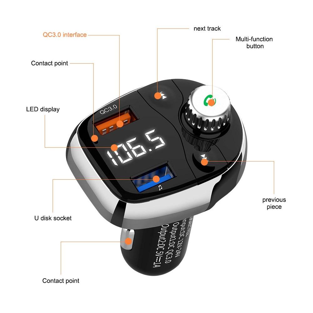 Image 5 - Aoshike FM передатчик Bluetooth Беспроводной fm модулятор Радио Hands Free Car Kit MP3 аудио плеер с USB Автомобильное Зарядное устройство TF U-in FM-трансмиттеры from Автомобили и мотоциклы