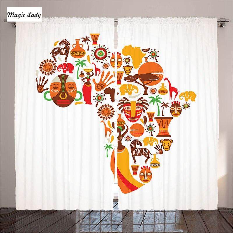 Afrikanische Vorhänge Wohnzimmer Schlafzimmer Karte Icons Ethnische Masken  Savannah Stil Orange Braun Sammlung 2 Kollektoren 145*265 Sm In Afrikanische  ...