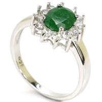 7.0 # SheType 2.6g Reale Verde Smeraldo Bianco CZ Regalo Per Le Signore Reale 925 Solid Sterling Silver Ring 13x12 millimetri