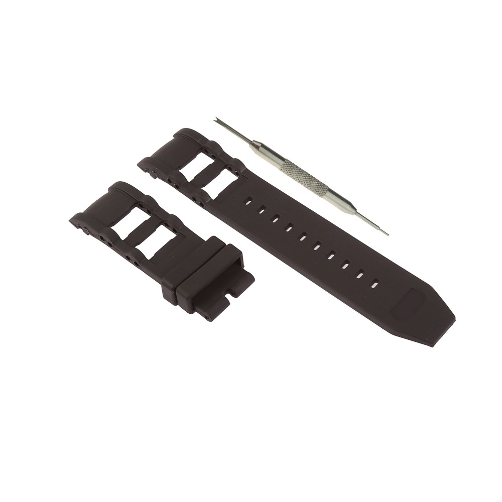 MDNEN 26mm Black Rubber Watch Band Replacement Strap Fits For Invicta Russian Diver + Free Spring Bar Tool strap