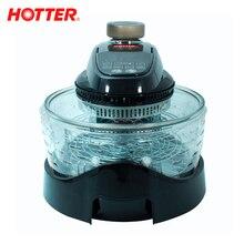 HOTTER HX-2098 Фитнес-гриль черный, 1400 Вт, регулировка температуры от 40°С до 260°С, сенсорное управление, объем чаши 10 л (с кольцом - 14 л), 3 скорости подачи воздуха, режим