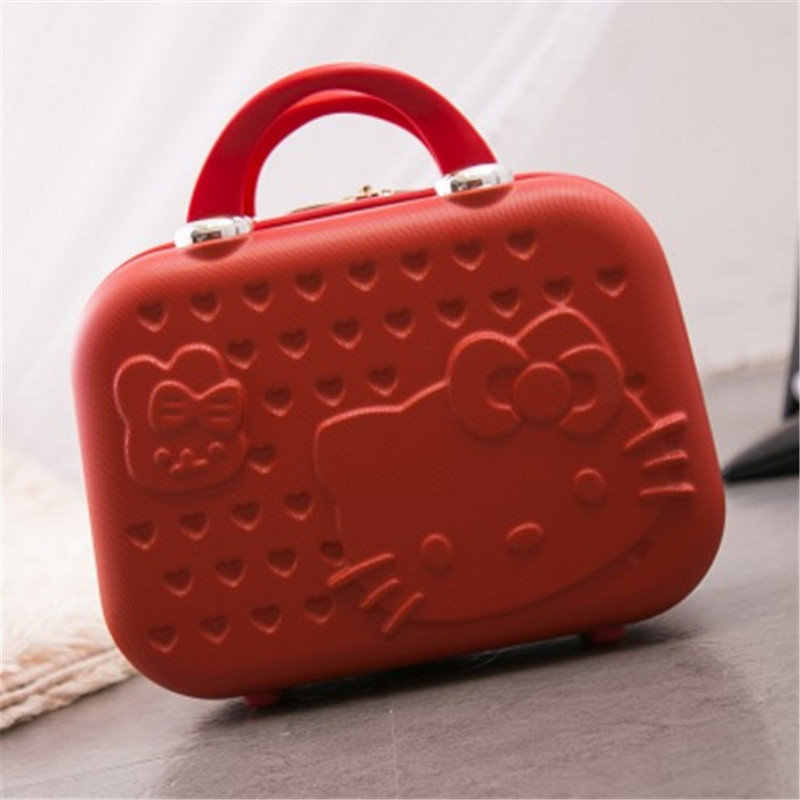 Love cat travel kit makeup kit Korean portable zipper box cute girl Casual waterproof 13 inch makeup case free holograms