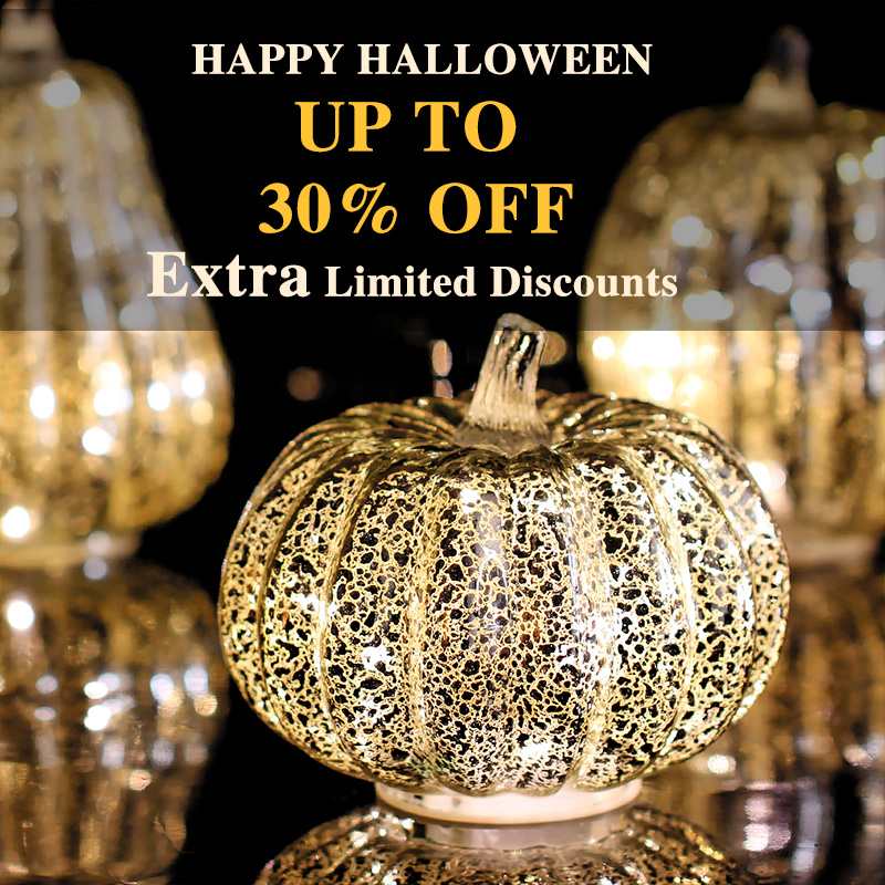 GiveU Mercury Glass Pumpkin Flameless Candle for Halloween and Thanksgiving Decor, Led light with Timer,Silver