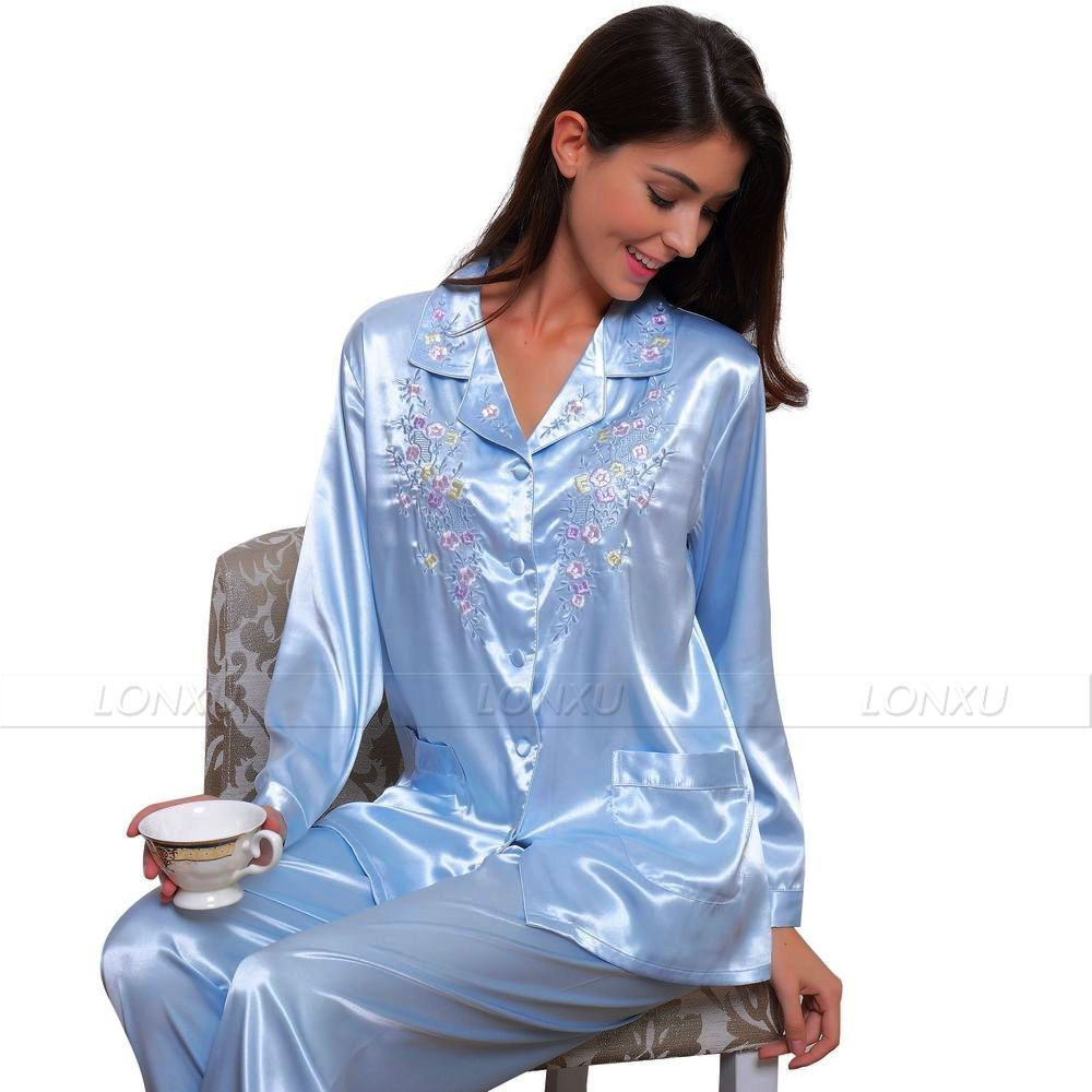 Womens Silk Satin   Pajamas     Set   Pyjamas PJS   Set   Sleepwear   Set   Nightwear Loungewear XS~ 3XL Plus Size__Gifts