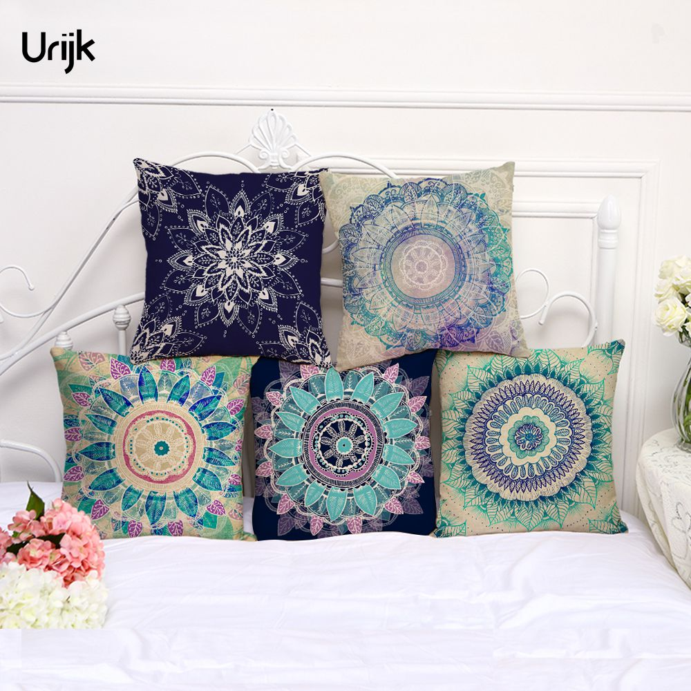 Urijk 1PC Fashion Linen Mandala Cushion Cover Lotus Pattern India Throw Pillows for Bedroom Chair Sofa Bay Window Pillow Cover