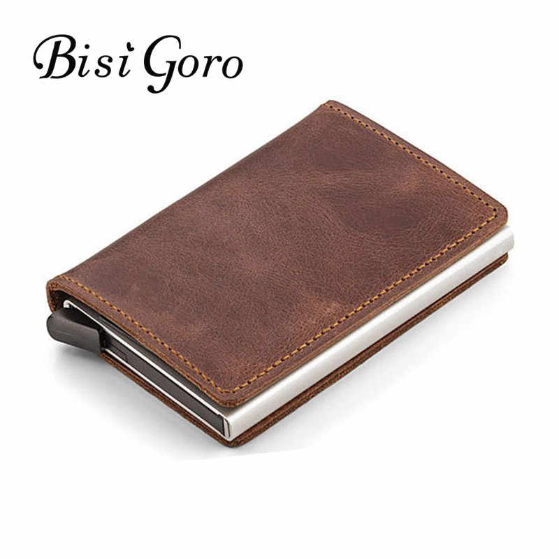 BISI GORO 2019 Unisex Genuine Leather Card Holder Vintage Purse Crazy Horse Leather Rfid Aluminium Credit Business Card Holder
