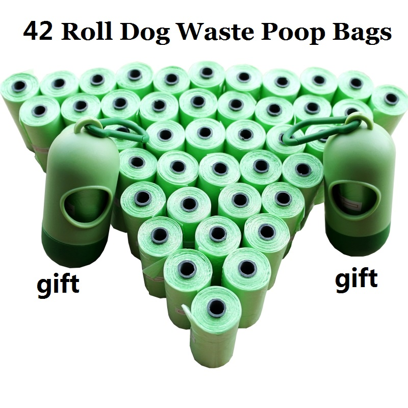 1Pack=12/20/42 Rolls Dog Poop Bags With Dispenser Capsule Shape Doggie Waste Bags Pooper Scoopers Bags 5 Color