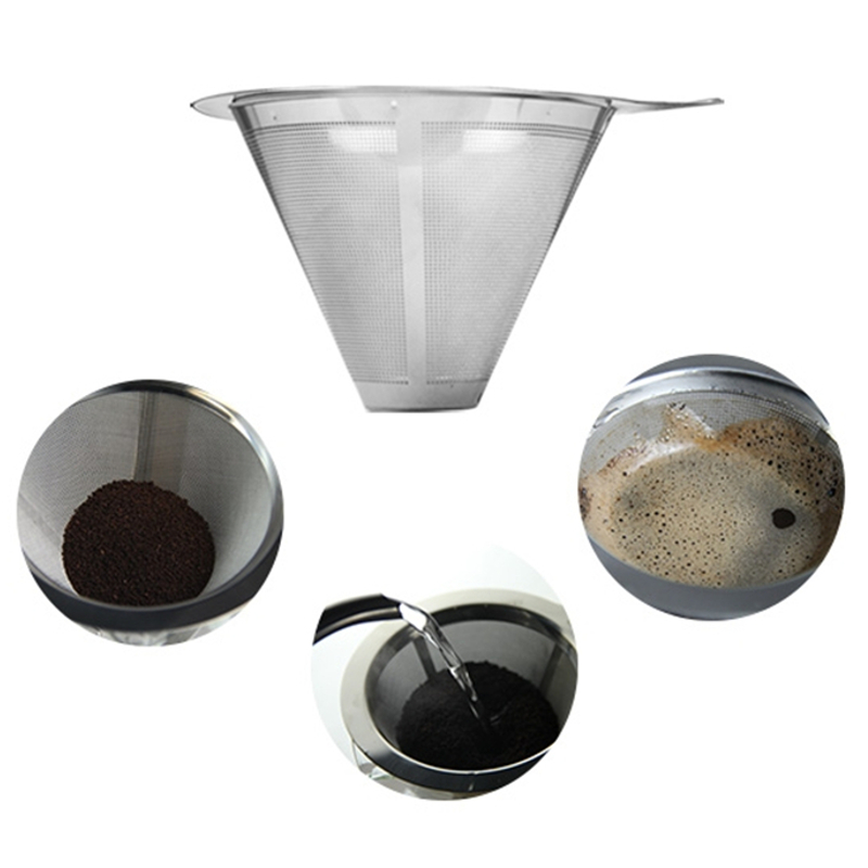 Stainless Steel Coffee Filter Dripper Double Layer Coffee Shop Kitchen Tools Mesh Filter Pour Over Cone Paperless Home Brewing durable quality dual layer solid stainless steel coffee filter dripper refillable holder handle