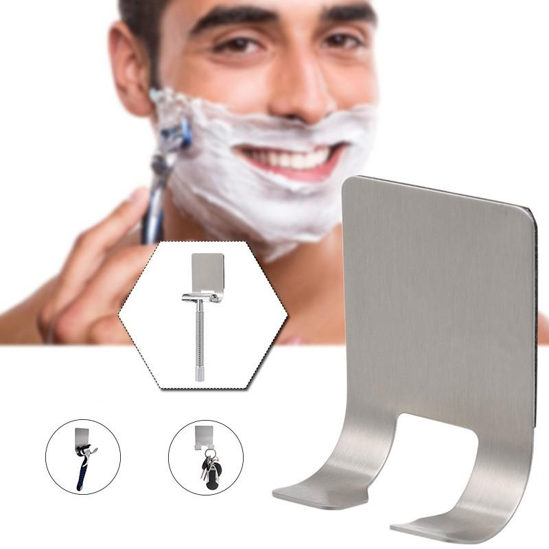 Image 2 - 1Pcs Wall mounted Stainless Steel Razor Holders Wall Adhesive Shaver Storage Racks Kitchen Door Bathroom Sticky Hooks For Plugs-in Shaver Holders from Home & Garden