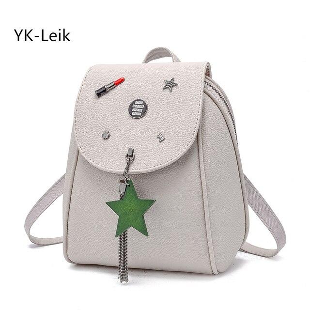 98514f33ea42 YK-Leik 2017 fashion All-match backpacks High quality PU leather women  tassel backpack school bags for girls mochila femi
