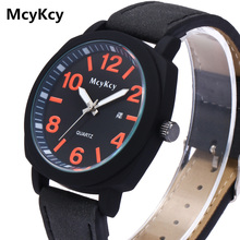 цена на McyKcy Sports Watches Luxury Brand Leather Casual Watch Men Watches Quartz Military Wrist Watch Male Clock Relogio Masculino