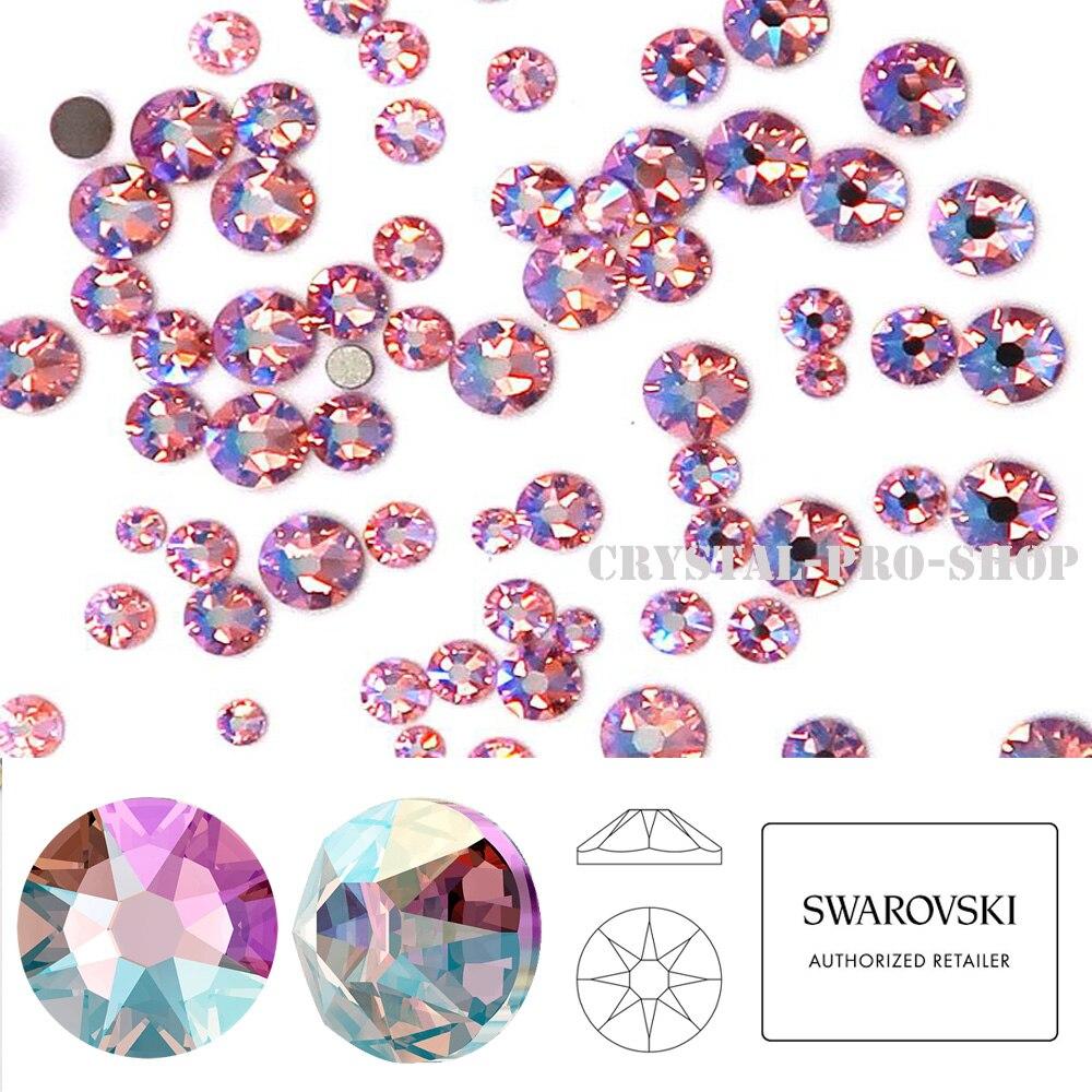 Nuevo efecto luz Rosa brillo (223 cuña) Cristal de Swarovski (ss5-ss30) (sin Hotfix) diamante de imitación plano Cristales de Swarovski Luna colgante pendientes colgantes nueva moda plata esterlina Piercing gota pendientes para mujer joyería regalo