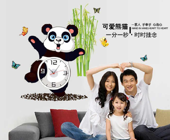 3D часы иглы времени стикер на стену мультфильм панда бамбуковый дизайн часы украшение дома Наклейки на стены обои для гостиной спальни