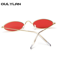 Oulylan Small Oval Sunglasses Men Women Retro Metal Frame Yellow Red Vintage Tiny Round Skinny Male Female Sun Glasses UV400