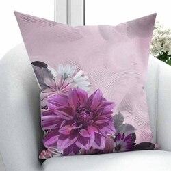Innego fioletowy Vintage białe kwiaty szary kwiatowy liście 3D drukuj rzuć poszewka na poduszkę poduszka kwadratowa ukryty zamek błyskawiczny 45x45 cm w Poszewka na poduszkę od Dom i ogród na