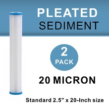 "Купить с кэшбэком 2 PACK OF 20 Micron Whole House Sediment Pleated Water Filter Washable & Reusable, 2.5"" x 20"""
