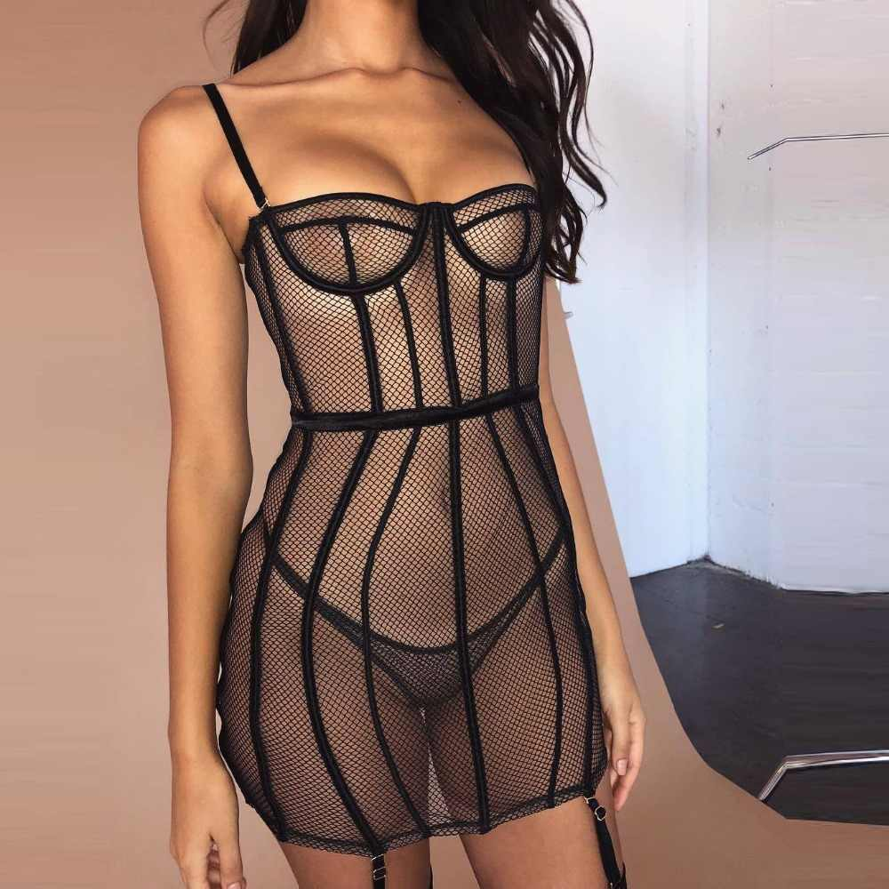 BKLD Spaghettibandjes Backless Sexy See-through Mesh Bandage Bodycon Korte Mini Jurken 2019 Zomer Vrouwen Fashion Party Vestidos