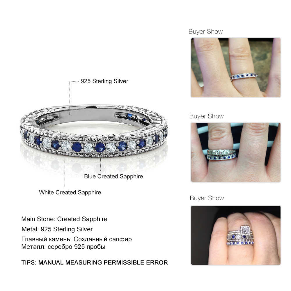 GemStoneKing 925 เงินสเตอร์ลิงผู้หญิงวงแหวนและสร้าง Sapphire แหวนเครื่องประดับ