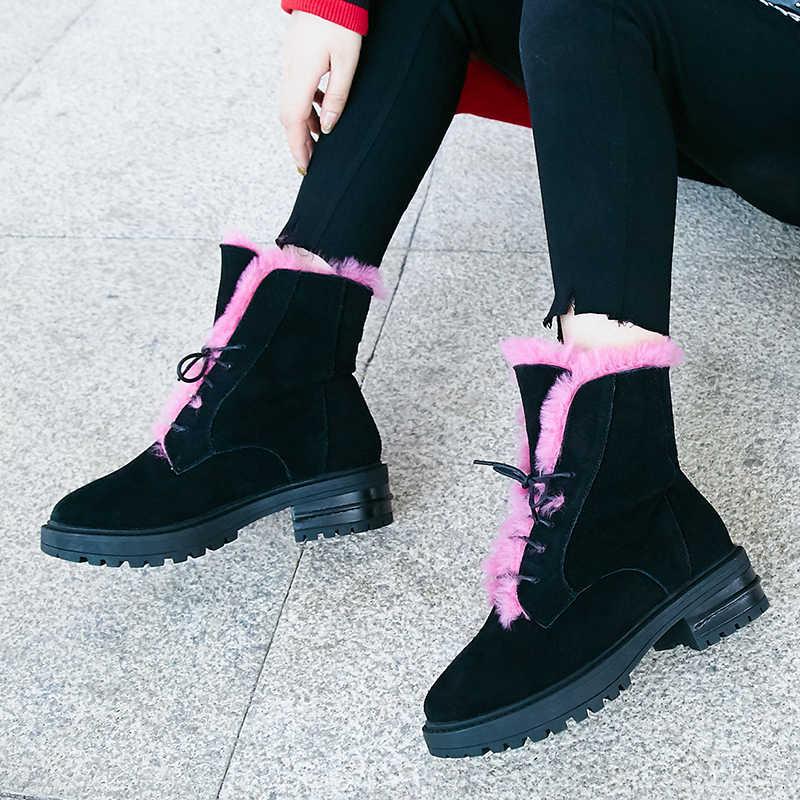 16a3cee8 Модные кожаные зимние сапоги, женская обувь, новинка 2018 года, женские  ботинки из натуральной