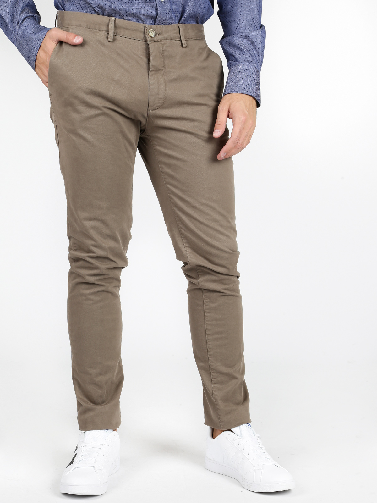 Pants Slim Fit Cotton-mud