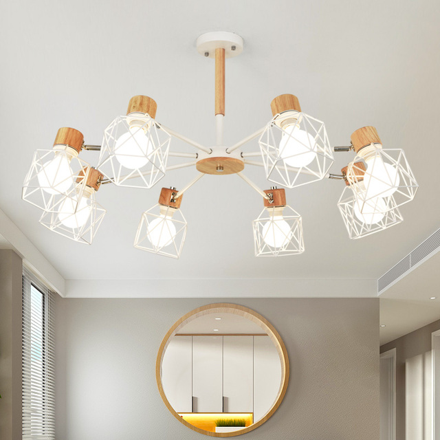 TRAZOS Wooden Pendant Lights For Living Room Iron Lampshade LED E27 Lighting Lustres Para Sala industrial  De Jantar Home Lamp