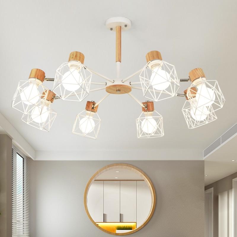 TRAZOS di Legno Lampade a sospensione Per Soggiorno Ferro Paralume LED E27 Illuminazione Lustri Para Sala industriale De Jantar Casa Lampada