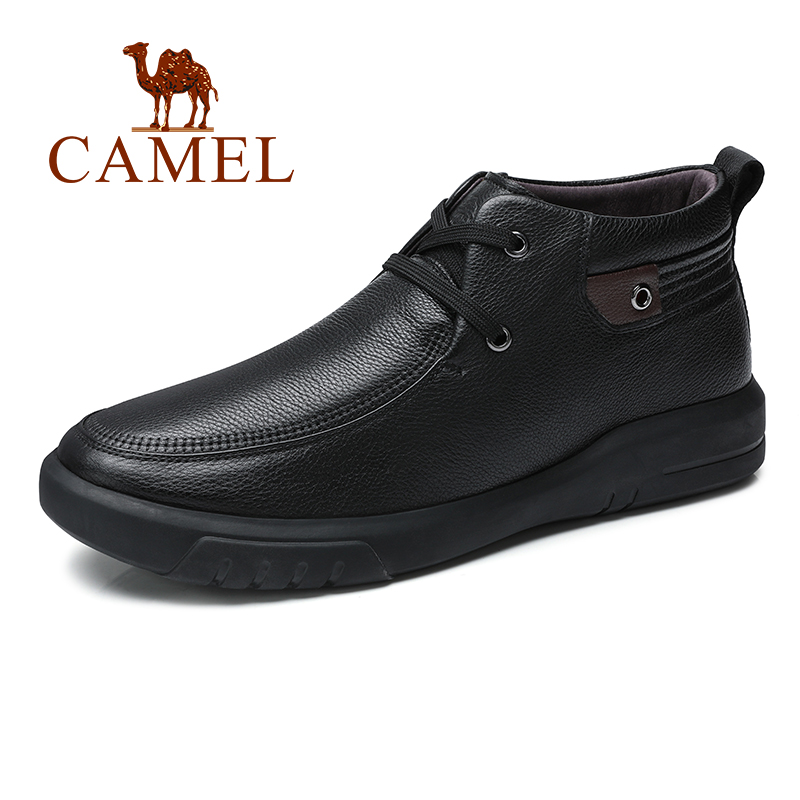 CAMEL Witer Men Boots With Fur Business Lace Genuine Leather Elegant Retro Black Fashion Shoes Man