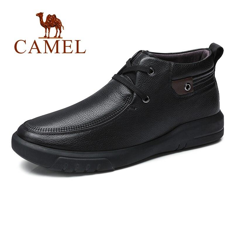 CHAMEAU Witer Hommes Bottes Avec Fourrure Dentelle D'affaires Véritable En Cuir Élégant Rétro Noir De Mode Chaussures Homme botas hombre