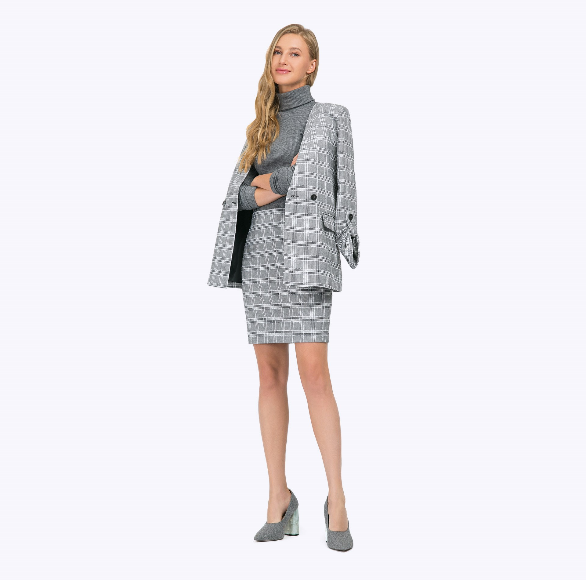 Skirt plaid glen plaid zip back skirt