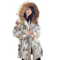 Зимняя женская шуба в длинном абзаце из чистого натурального меха кролика, норковая шуба, куртка с капюшоном