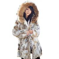 Winter female fur coat in the long paragraph of pure natural grass rabbit fur mink coat braid hair hooded jacket
