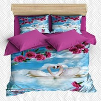 Else 6 Piece White Clouds on Swans Pink Rose Trees 3D Print Cotton Satin Double Duvet Cover Bedding Set Pillow Case Bed Sheet