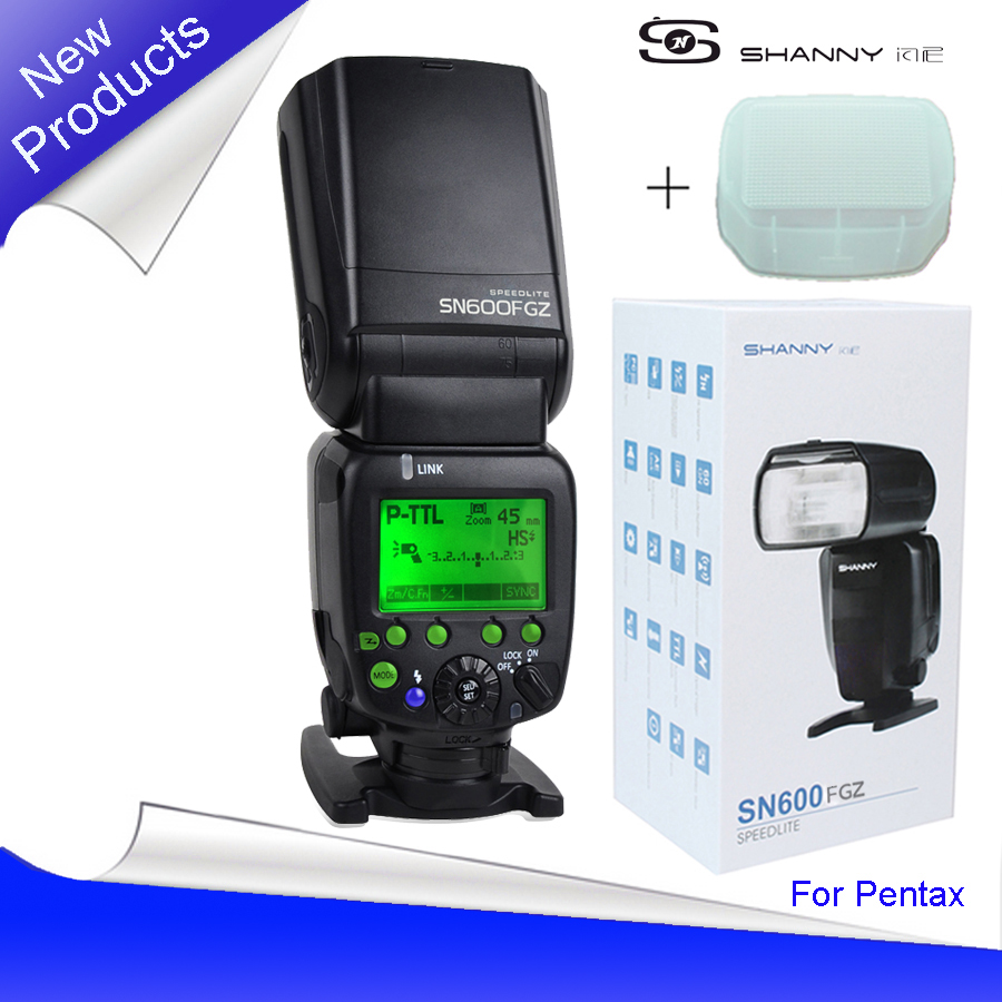 New Shanny SN600FGZ P-TTL GN60 1/8000s Slave On-Camera Flash speedlite for Pentax K100 K100D K200D K-7 K-x K-r K-5 K-01 pixco mount adapter suit for pentax 67 lens to pentax pk k 3 k 50 k 5 ii k 30 k 01 k 5 k r k x k 7 k m k20d k200d k10d k100d