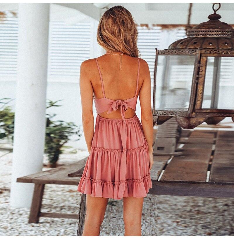 4a1a3f3335f2c Girls White Summer Dress Spaghetti Strap Bow Dresses Sexy Women V-neck ...