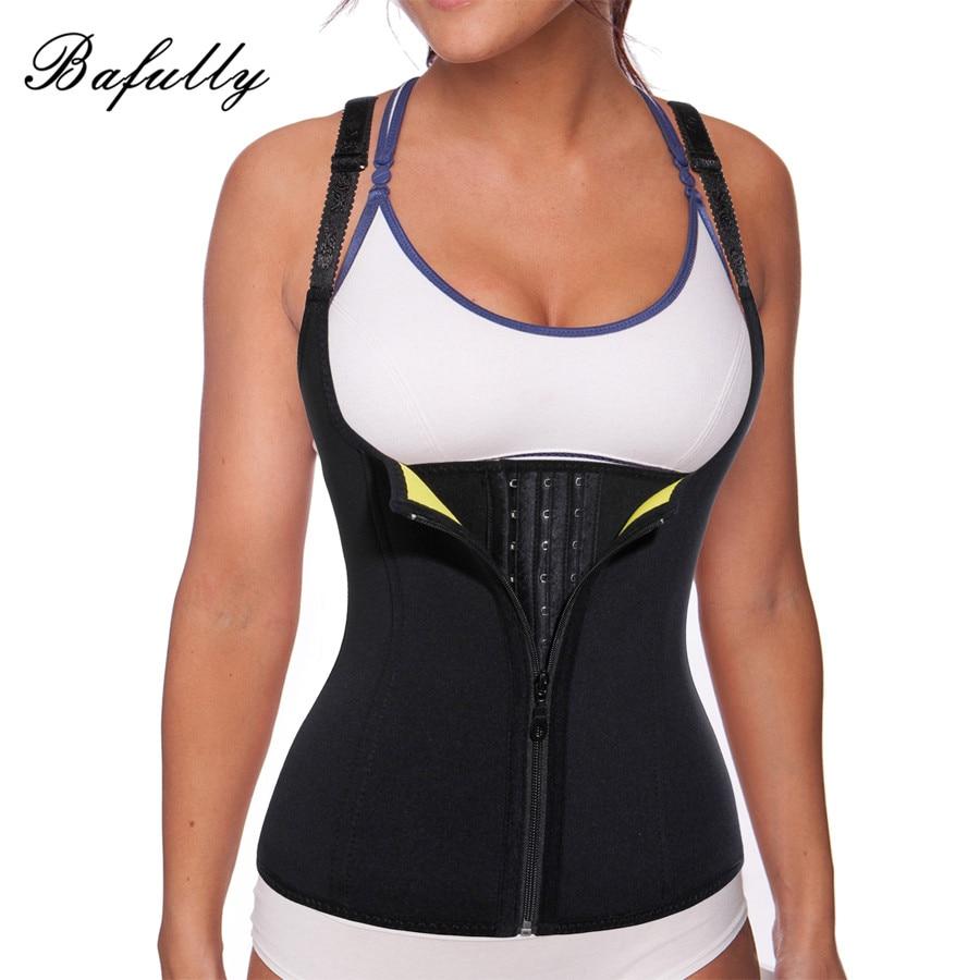 ae2d26f5f8e Bafully Slim Waist Trainer Neoprene Sauna Sweat Vest Body Shaper Underwear  Modeling Belt Zipper Hooks Corset Suits for Women