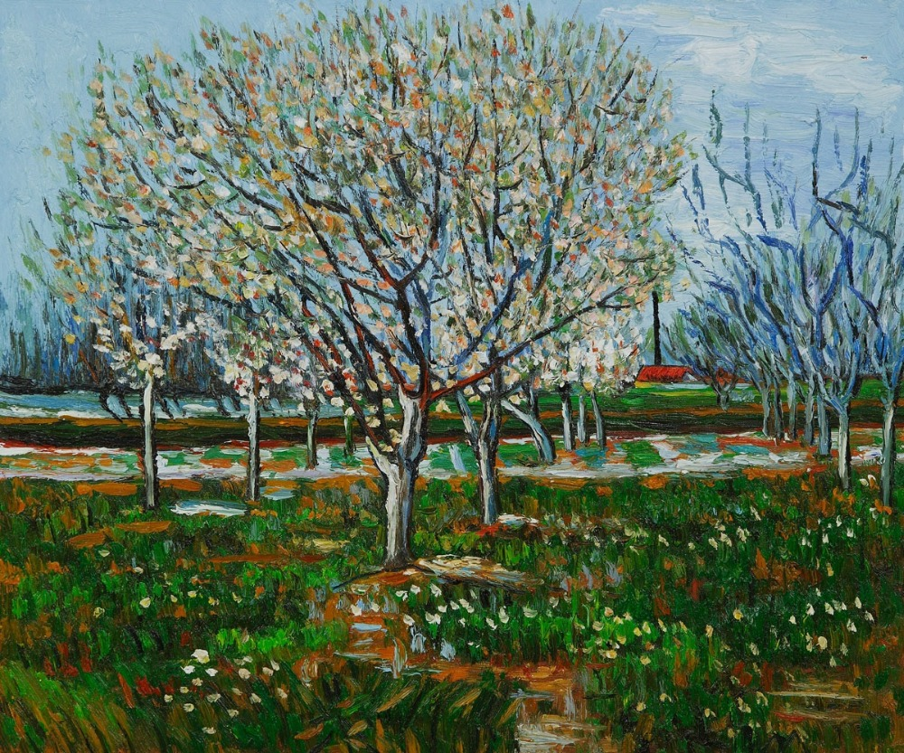 High quality Oil painting Canvas Reproductions Orchard in Blossom (Plum Trees) by Van Gogh Painting hand paintedHigh quality Oil painting Canvas Reproductions Orchard in Blossom (Plum Trees) by Van Gogh Painting hand painted