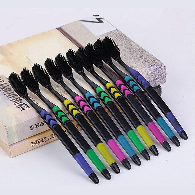 Dropship 10/4/1 piezas familia conjunto de carbón de bambú para las encías cuidado de bambú negro cepillos de dientes casa Unisex saludable de limpieza de los dientes