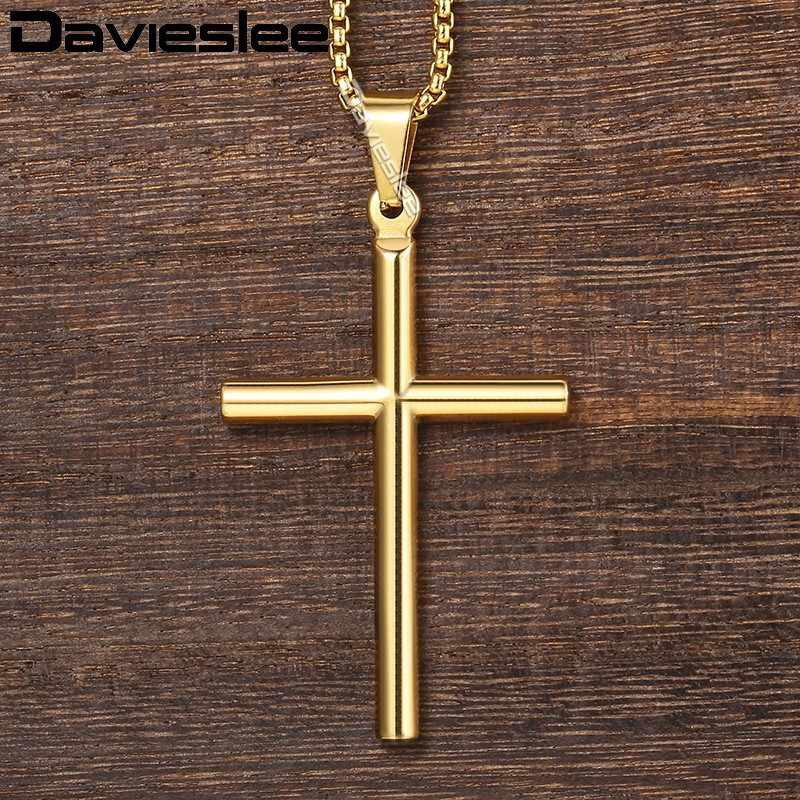 Davieslee Cross Pendant Necklace Mens Chain Box Link Stainless Steel Gold Silver Tone DKPM139