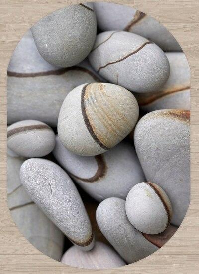 Else Gray Brown Lines Pebble Stones 3d Pattern Print Non Slip Microfiber Living Room Modern Oval Washable Area Rug Carpet
