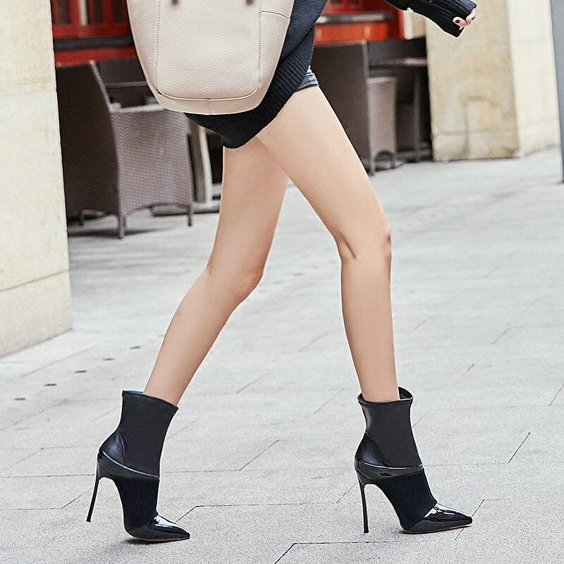 Sexy Noir Talons Bottes En Chaussures Suede Bout As Femmes Avec Élastique Pointu Cuir Stretch Stiletto À as 18aw Patchwork Partie Show Hauts Show Cheville dZ4vw5q