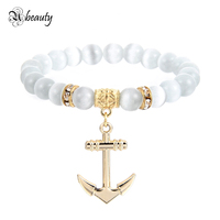 Gold and Silver Plated Charm Anchor Bracelet Women Handmade Elastic Opal Bead Bracelet Love Friendship Jewelry Gift Wholesale