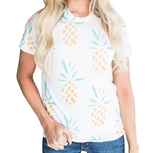 29a3ace64cd 2017 Summer Women Cotton T shirt Sequins Pineapple Print Tee Tops Women O  Neck Short Sleeve Slim White T-shirts
