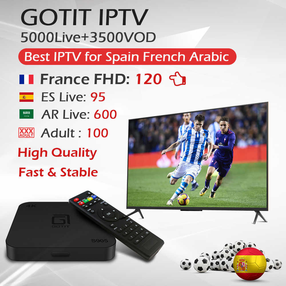 S905 Android TV Box + 1 Year Bahasa Perancis Spanyol Arab M3U Enigma2 Mengerti IPTV Berlangganan Amlogic S905 Quad-Core h.265 4K TV Box