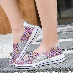 Image 3 - Baskets confortables pour femme, chaussures plates dété respirantes à la mode, tennis, chaussures dextérieur, pour marcher, collection mocassins décontractés