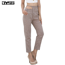 JYSS autumn new casual high waist pants women girl khaki plaid pants with belt ankle length skinny ladies trousers female 81688# jyss autumn new casual elastic waist pants women belt yellow gray plaid pants long straight trousers women active wear 81221