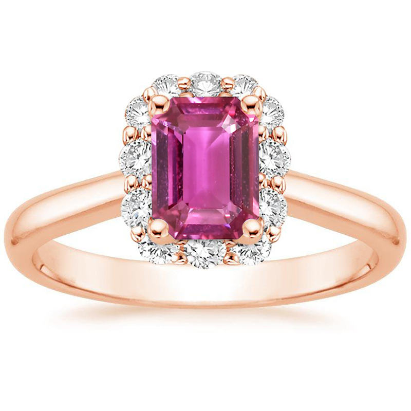ANI 18K Rose Gold (AU750) Women Wedding Ring Certified Natural Pink Sapphire Oval/Rectangle Shape Female Engagement Diamond Ring new pure au750 rose gold love ring lucky cute letter ring 1 13 1 23g hot sale
