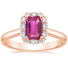 ANI 18K Rose Gold (AU750) Women Wedding Ring Certified Natural Pink Sapphire Oval/Rectangle Shape Female Engagement Diamond