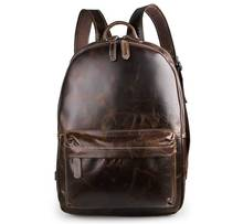 Man Women Travel Backpack School  Bags 2018 Student Fashion Casual Unisex Cow Leather 17
