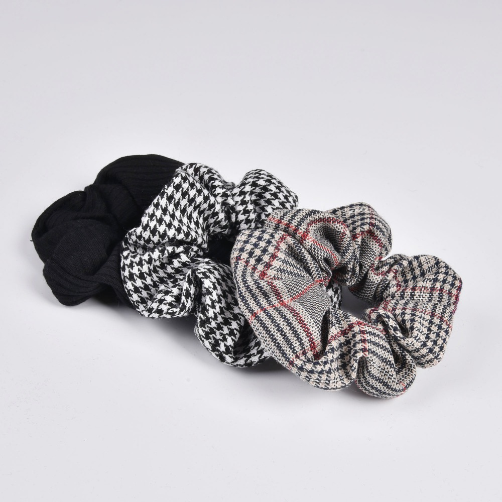 New Arrial Vintage Black & White Check Ponytail Holder Scrunchies Ring Elastic Hair Tie For Women & Girl Hair Accessoires