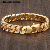 Davieslee Miami Curb Cuban Link Mens Bracelet Chain Hip Hop Iced Out Stainless Steel Gold Color